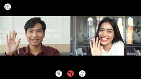 Video call screen shot the faces of Asian colleagues or partners meeting remotely with video conferences, greetings and meetings together while working from home and keep social distancing