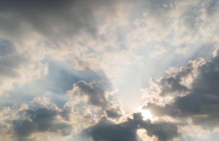 Scene of Ray light on sun beam with Moving clouds background in nature and travel concept, wide angle shot Panorama shot