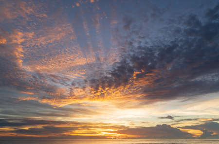 Abstract amazing Scene of stuning Colorful sunset with clouds background in nature and travel concept, wide angle shot Panorama shot