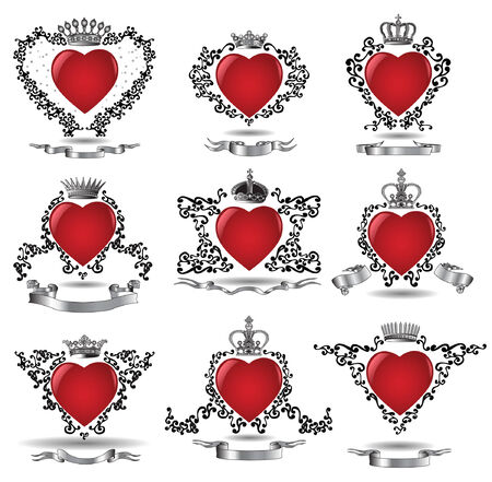 there are nine hearts with crowns and ribbons