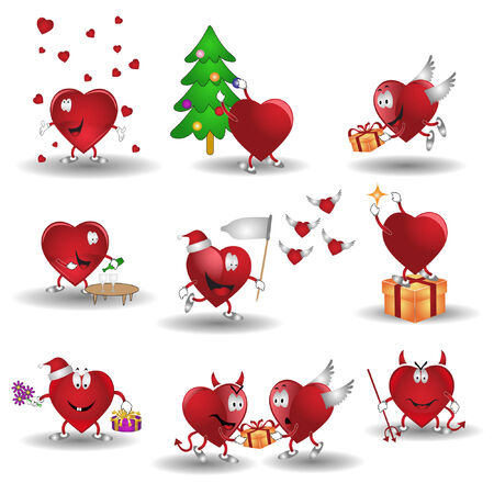 there are hearts cartoon heroes Vector
