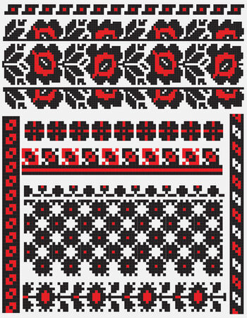 there is a scheme of ukrainian pattern for embroidery Vector