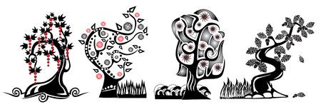 arboles de caricatura: Hay �rboles de dibujos animados  Vectores