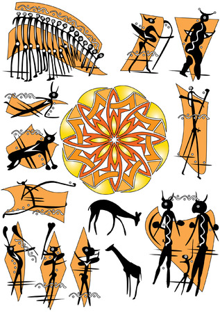 cave pictures of people and animals  Vector