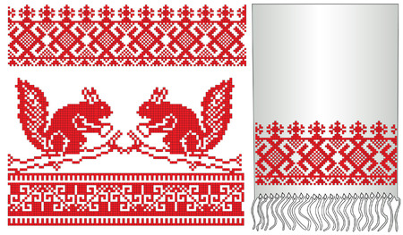 traditions: there is a scheme of russian pattern for embroidery Illustration