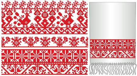 there is a scheme of ukrainian and russian pattern for embroidery   Vector