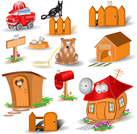 there are home glossy icons Vector