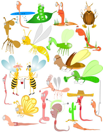 there are bugs,insects, beetles, worms Vector