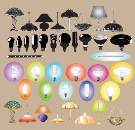 there are lamps and chandeliers color and silhouette Stock Vector - 6514131