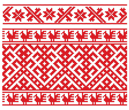 there is a scheme of russion pattern for embroidery Vector