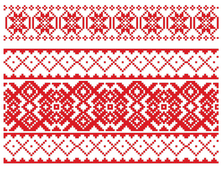 there is a scheme of russian pattern for embroidery Stock Vector - 6565295