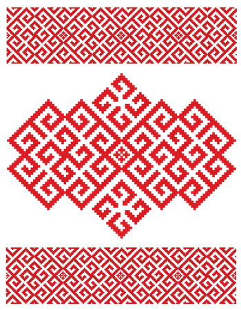 there is a scheme of russian pattern for embroidery 向量圖像