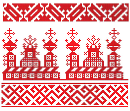 there is a scheme of russian pattern for embroidery Vectores