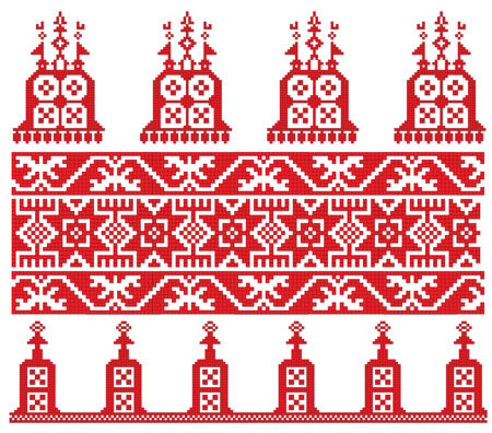 there is a scheme of russian pattern for embroidery Illustration