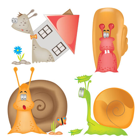catroon: there is a catroon snail characters Illustration