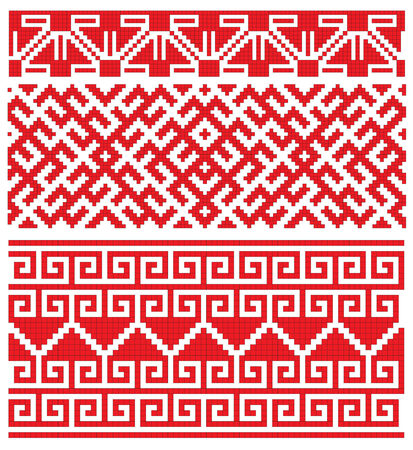there is a scheme of russian pattern for embroidery Stock Vector - 6565436