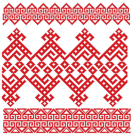 there is a scheme of russian pattern for embroidery Vector