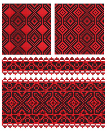 traditions: there is a scheme of ukrainian pattern for embroidery   Illustration