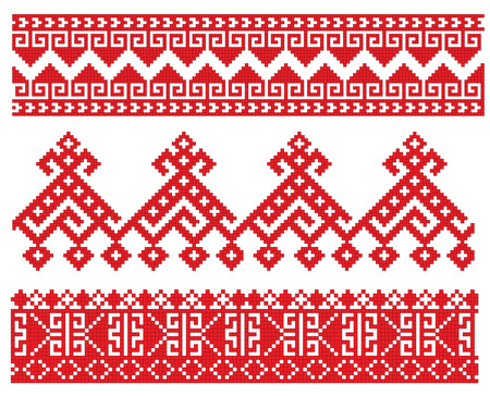 embroidery fashion: there is a scheme of russian pattern for embroidery Illustration