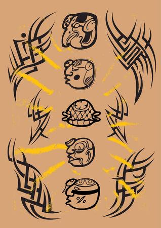 there are tattoo maya simbols and pattern Vector