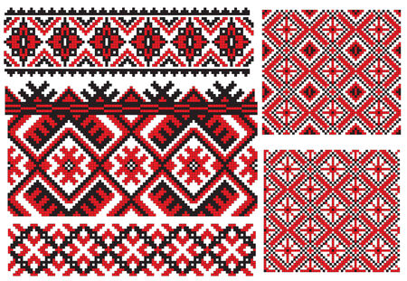 folk art: there is a scheme of ukrainian pattern for embroidery