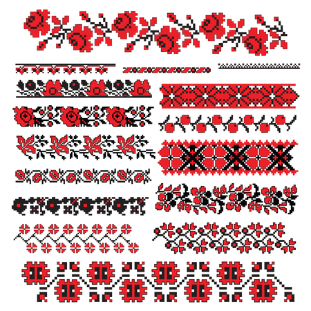 and tradition: there is a scheme of ukrainian pattern for embroidery   Illustration