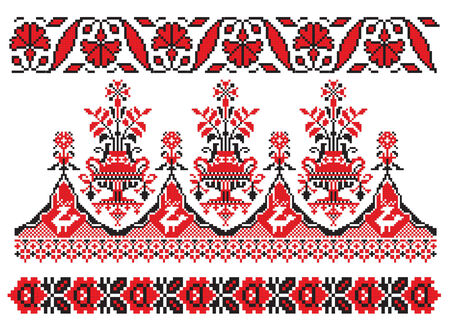 there is a scheme of ukrainian pattern for embroidery   Vectores