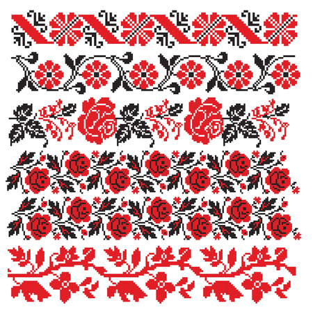 schemes: there is a scheme of ukrainian pattern for embroidery