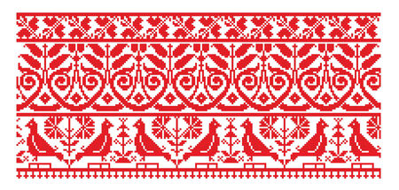 red cross red bird: there is a scheme of ukrainian pattern for embroidery