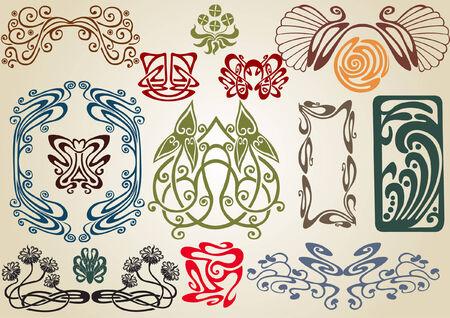 art nouveau: raccogliere in stile art nouveau Vettoriali