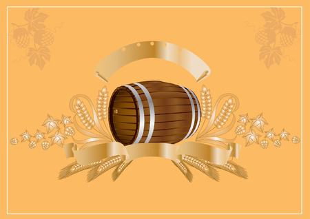 beer wine kvass barrel Vector