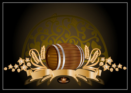 kvass beer wine barrel Vector