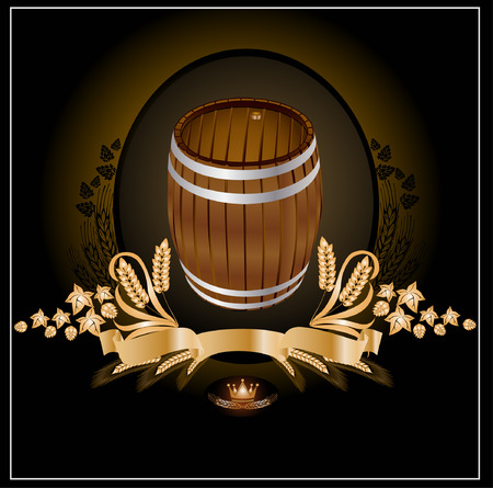 barrel kvass beer wine Vector