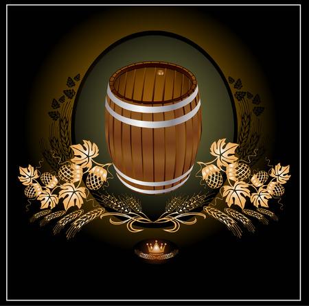 taberna: cerveza de barril de oro kvas  Vectores