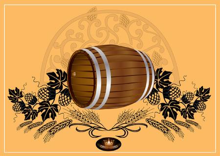 barrel beer wine kvass Vector