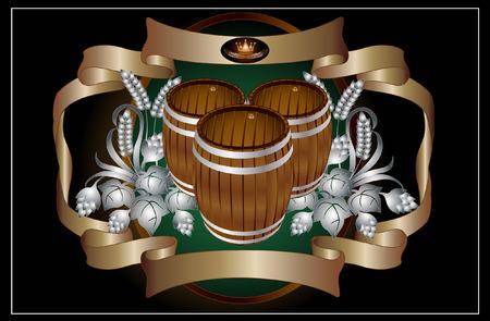 tree barrel beer wine kvass Vector