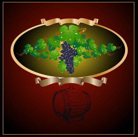 there is a barrel and grapes wine for advertising Vector
