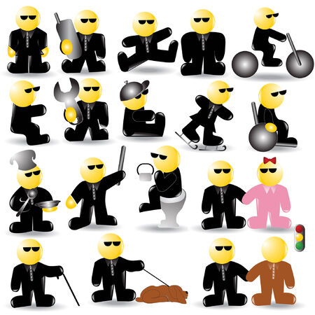 there are blind or businessman  icon character Vector