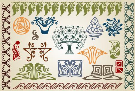 Hay plantas de art nouveau y ellements  Foto de archivo - 7179017
