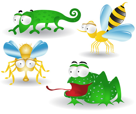 there are cartoon characters they are  frog bee fly chameleon Vector
