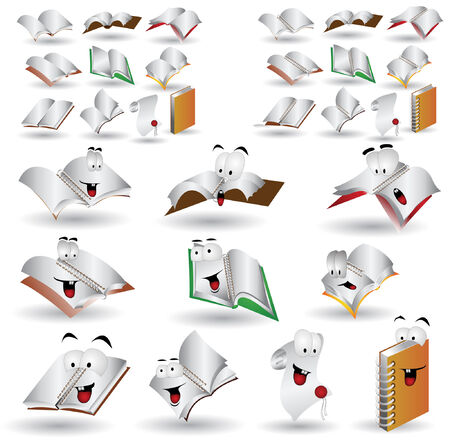 there are books and note book icon character Stock Vector - 7179066