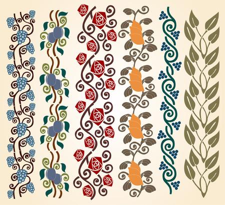 stile liberty: Ci sono astratte collezione di arte nouveau frutta e vegetali