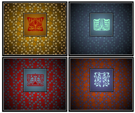 artnouveau: ther are four japan style symbols with textures