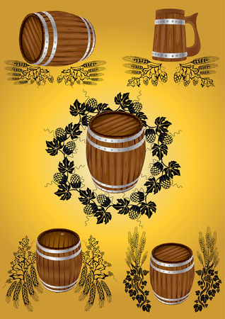 beer wine barrel collection Vector