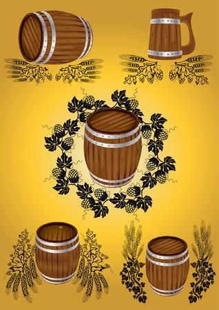 beer wine barrel collection Vector