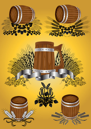 wine beer barrel collection Vector