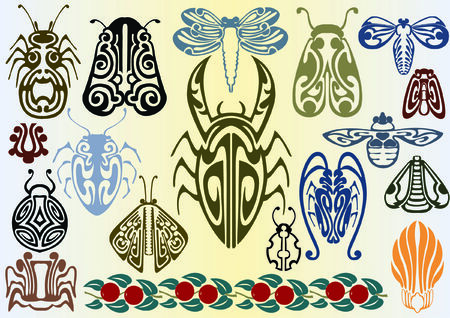 art nouveau insects Stock Vector - 7261336