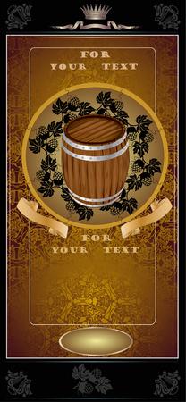 beer card: gold barrel advertising Illustration