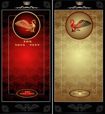 there are two cards banner or advetising with bird and texture