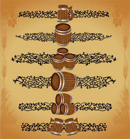 there are barrels and mug with pattern for advertising wine or beer Vector